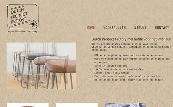 Ontwerp en realisatie website Dutch Product Factory